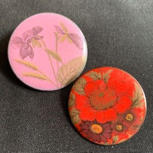 "2 Enamel and Copper Flower Brooch Pin 1"" wide"